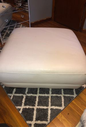 White Leather Ottoman for Sale in Milford, MA
