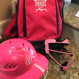 Lot girls baseball helmet, face shield and Nike backpack $30 for Sale in Bakersfield, CA