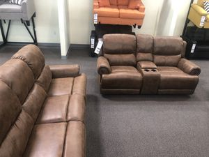 Only $50 Down! New ALL POWER Reclining Couch / Love Seat. Brown Leather. Free Delivery! for Sale in Anaheim, CA