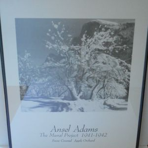 Framed Ansel Adams Black and White Photograph Print Snow Covered Apple Orchard for Sale in St. Petersburg, FL