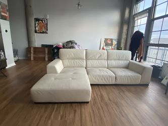 Leather Cream Sectional Sofa for Sale in Everett,  MA