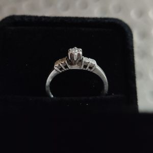 Antique vintage diamond engagement promise ring - 925 silver - size 7 for Sale in Englewood, CO