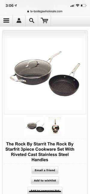 The Rock By Starrit The Rock By Starfrit 3piece Cookware Set With Riveted Cast Stainless Steel Handles for Sale in New York, NY