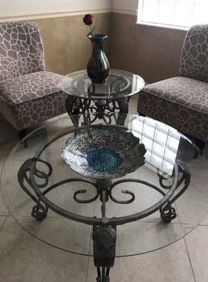 Glass and wrought iron coffee table and end table for Sale in VLG WELLINGTN, FL
