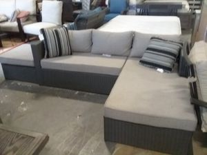 New outdoor patio furniture l shape sectional sofa chaise with ottoman tax included for Sale in Hayward, CA