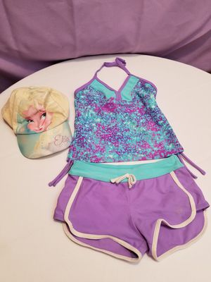 🦉💜🦉 Girl swimsuit size 7 and Frozen cap 💜🦉💜 for Sale in Portland, OR