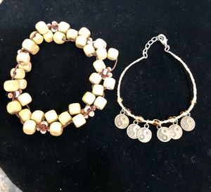 Wooden bead ankle bracelet and small natural fiber bracelet with yin yang charms. Both $10.🌸 for Sale in Tolleson, AZ