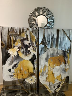 """Abstract canvas art - HUGE - 30"""" x 60"""" - 4 panels for Sale in Santa Monica, CA"""