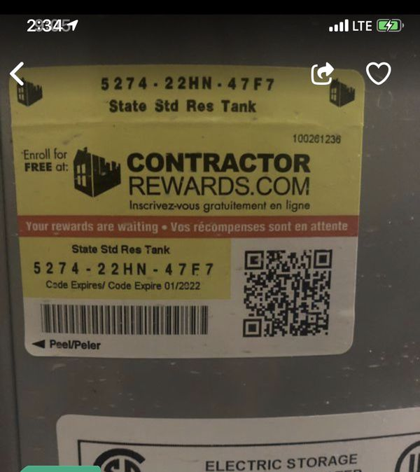 STATE PRO-LINE 50 GALLON ELECTRIC WATER HEATER...... MANUFACTURED DATE 2019 .... GREAT DEAL !
