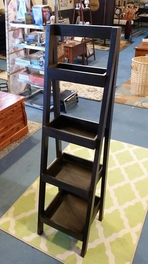 Dark Walnut Colored Ladder Style Basket Shelf for Sale in Flowery Branch, GA