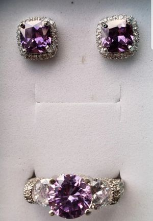 Stunning sterling silver 2 ct amethyst and lab diamond ring and earring set for Sale in Baltimore, MD