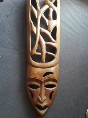 Cool large carved mask made out of one piece of wood for Sale in Dunedin, FL