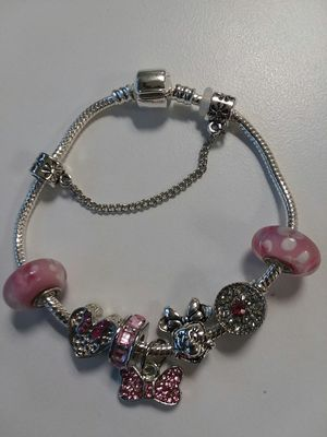 Pretty Pink Minnie Mouse Charm Bracelet With Beaded Crystals for Sale in The Bronx, NY