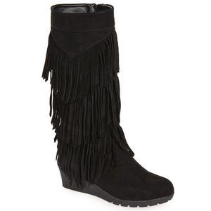 Kenneth Cole | 'Simona' Black Fringe Wedge Boots- SZ 2.5(Girl's) for Sale in Las Vegas, NV