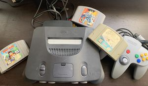 Nintendo 64 console: Super Mario 64, Mega Man 64, Diddy Kong + Gamepad & Cables for Sale in Santee, CA