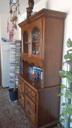 Small hutch with light & glass shelve for Sale in Spring Lake Park, MN