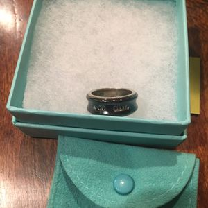 Tiffany And Co Black Enamel Ring Silver for Sale in Lascassas, TN