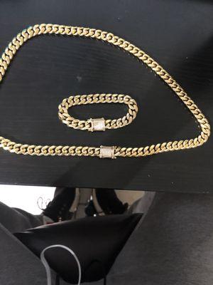 14k gold filled diamond open custom lock bracelet and chain set !! We do custom work for Sale in Richmond, VA
