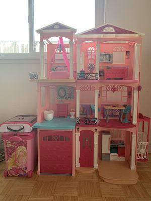 Barbie Dream House W/Pool, Rolling Case, Barbie Closet, Motorcycle, Barbie Car & etc for Sale in San Lorenzo, CA