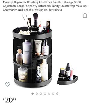 New Makeup Organizer Rotating Cosmetics Counter Storage Shelf Adjustable Larger Capacity Bathroom Vanity Countertop Make up Accessories Nail Polish L for Sale in Fresno, CA