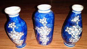 Vintage Chinese porcelain prunus vases under glaze blue and white plum blossoms pattern outlined in gold for Sale in Tampa, FL