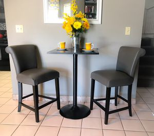 "24"" Bar Stools (2) Anchor Gray Faux Leather with Black Pub Table for Sale in Las Vegas, NV"