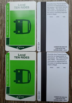 CATS bus pass 10 ride - expires 2027 for Sale in Charlotte, NC