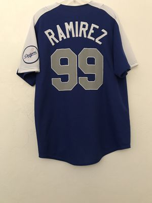 """L. A. Dodgers """"Manny Ramirez"""" MLB Genuine Merchandise Jersey Size Medium Stitched Letters Good Condition for Sale in Reedley, CA"""