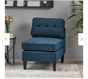 Crowningshield Navy Blue and Black Fabric Slipper Chair for Sale in Santa Ana, CA