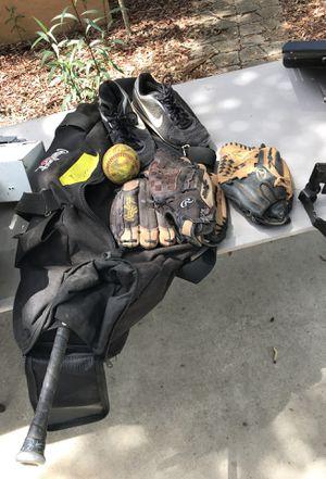 Softball set - 3 gloves, bat, cleats sz 10 for Sale in Saint Petersburg, FL