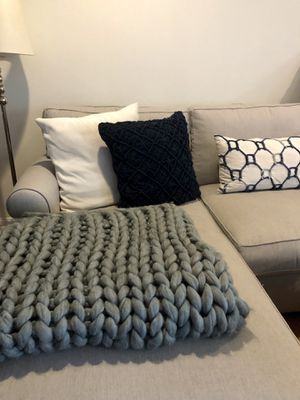 Grey, hand-woven throw blanket for sale! for Sale in Washington, DC