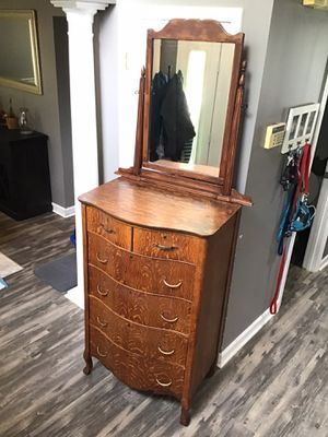 Tall Six-Drawer Antique Wooden Dresser with Mirror for Sale in Goodlettsville, TN