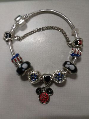 Beautiful USA Mickey and Minnie Mouse Charm Bracelet With Beaded Crystals for Sale in The Bronx, NY