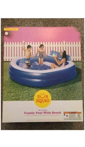 """💦 Sun Squad Inflatable Pool with Bench Family Pool 7.4' x 27"""" Bench Pool Bench for Sale in Los Angeles, CA"""