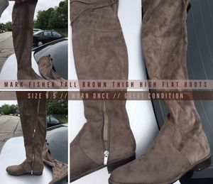 MARC FISHER THIGH HIGH FLAT BROWN BOOTS SIZE 9.5 WORN ONCE for Sale in Boston, MA
