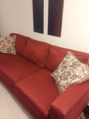 Red Sofa / Couch and 2 large curtain panels for Sale in Baltimore, MD