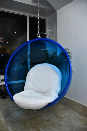 Hanging blue bubble chair for Sale in Brooklyn, NY