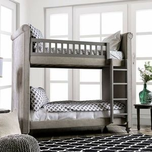 GRAY PADDED LINEN LIKE FABRIC TWIN OVER TWIN SIZE BUNK BED for Sale in Riverside, CA