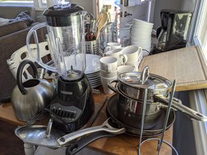 Complete Kitchen Set - Dishes, Cutlery, Pots, Pans, Coffee Maker, Blender for Sale in San Diego, CA
