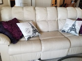 Beautiful Cream Leather Recliner and And Couch With Two Reclining Seats. Great Conditio . for Sale in Denver,  CO