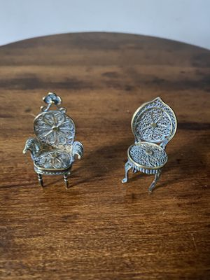 Antique miniature Dollhouse Silver Filigree chairs for Sale in Yonkers, NY
