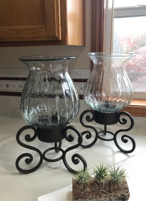 Beautiful Vintage Rod Iron/crystal Extra Large Candle Holders for Sale in Happy Valley, OR