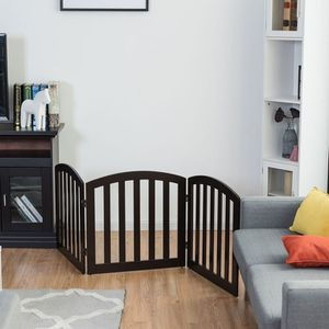24'' Configurable Folding Standing 3 Panel Wood Pet Fence-Brown for Sale in La Habra Heights, CA