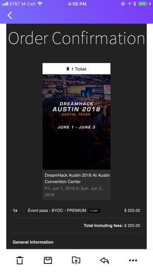 DreamHack Austin 2018 BYOC PREMIUM pass for Sale in Austin, TX