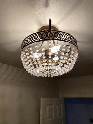 Elegant Rubbed Bronze Semi- Flush Mount Chandeliers with Crystal Accents for Sale in Kirkland, WA