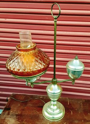 Antique lamp with amber quilted glass shade for Sale in Medford, OR