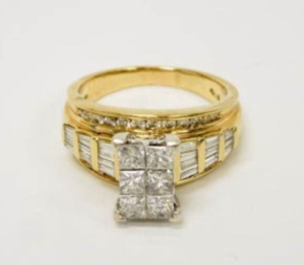 14K Yellow Gold & Diamond Engagement Wedding Cocktail Ring ⭐️ 60 Diamonds Total! Size 8.25 / 8.6g / 2.12 ctw Comes with Appraisal ($4400)