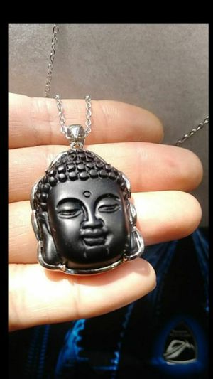 """Wrapped Carved Natural Black Obsidian Buddha Head Pendant 316L stainless steel chain 20"""" 2mm lead free nickle free stamp 925 bail for Sale in Richmond, CA"""