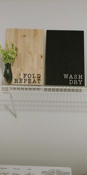 Handmade laundry room wooden wash dry fold repeat sign home decor for Sale in Charlotte, NC