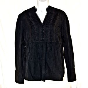 ELLE Black Long Sleeve Lace it Up Blouse New With Tags for Sale, used for sale  Tucson, AZ